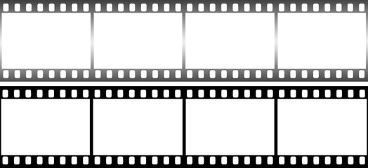 Photographic film in form of frame on white background.