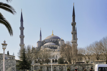 ISTANBUL, TURKEY - MARCH 24, 2012: Slender minarets of the Blue Mosque.
