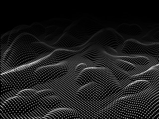 Abstract wave background. Wavy structure with dots. Vector illustration.