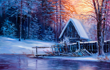 Old cabin in winter forest.Oil painting.