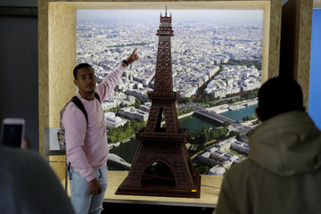 The Eiffel tower made in chocolate is showed during international chocolate fair in Obidos