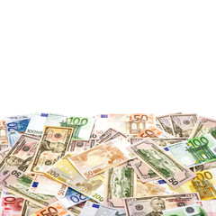 Euro banknote American dollars Money background finance concept