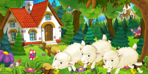 cartoon scene with happy and funny sheep near farm house in the forest - illustration for children
