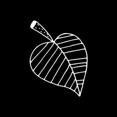 Linear cartoon hand drawn leaf drawing. Cute vector black and white leaf drawing. Isolated monochrome doodle leaf drawing on black background.