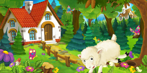 cartoon scene with happy and funny sheep running and jumping near farm house in the forest - illustration for children