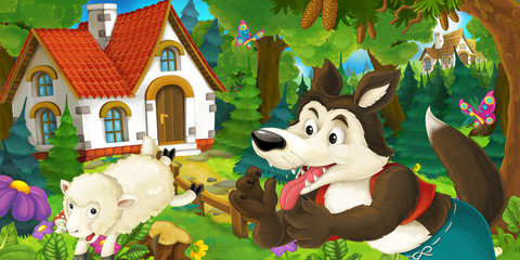 cartoon scene with happy and funny sheep running jumping near farm house and wolf is looking in the forest - illustration for children