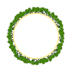 Round frame of clover for your text. Vector illustration