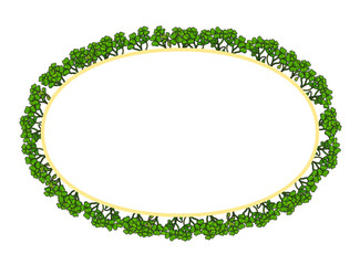 Oval frame of grass for your text. Vector illustration.
