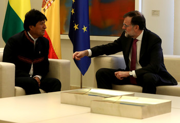 Spain's PM Rajoy meets Bolivia's President Morales at the Moncloa Palace in Madrid