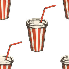 Seamless pattern with hand drawn soda and. Fast food background. Design for menu, advertising and banners. Sketch. Pattern can be used for wallpaper, web page background, surface textures.