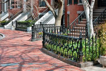 Red Brick Sidewalk, Cast Iron Fence