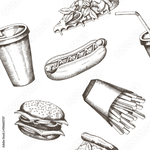 Vector Vintage Hand Drawn Fast Food Seamless Pattern Background