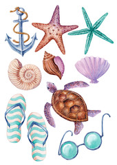 Watercolor hand-drawn set with marine objects on white background (isolated)