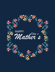 Happy Mothers Day With Flowers. Postcards for the holiday Mother's Day