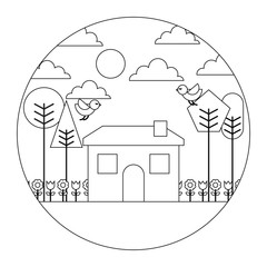 landscape house tree bird flowers spring season round design vector illustration  thin line