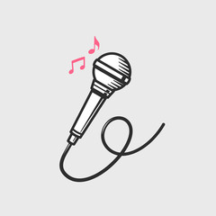 Microphone icon with music notes vector illustratio