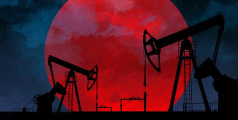 Oil, sunset background
