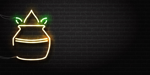 Vector realistic isolated neon sign of Ugadi logo for decoration and covering on the wall background. Concept of Happy Ugadi. Realistic banner for festival advertising and promotion.