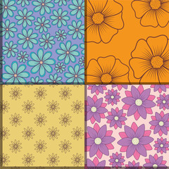 Design of squares of beautiful and tropical flowers patterns, colorful design