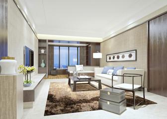 3d render of luxury living room