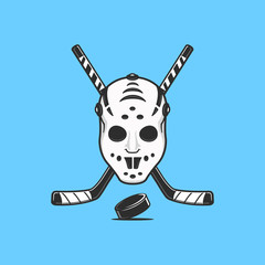 Ice hockey goalie mask with crossed hockey sticks and puck emblem vector illustration