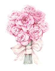 watercolor flowers isolated on white background. floral illustration in Pastel colors, pink rose. Bouquet of flowers with bow. Leaf and buds. Cute composition for wedding or greeting card
