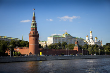 A view of the Kremlin from across the Moscow River in Moscow, Russia.