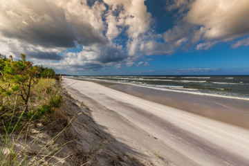 A view of beautiful sandy beach in Leba town, Baltic Sea, Poland