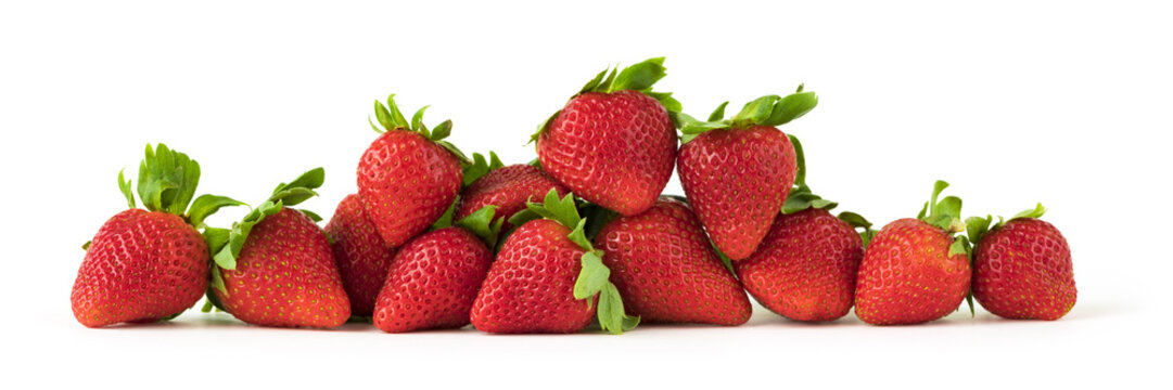 Red strawberries isolated on white background