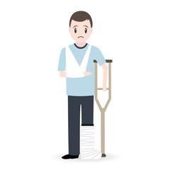 Injury man and bandage icon, medical sign