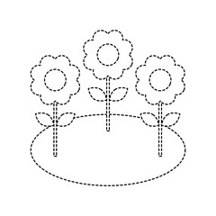 natural flowers petal leaves ornament vector illustration dotted line image
