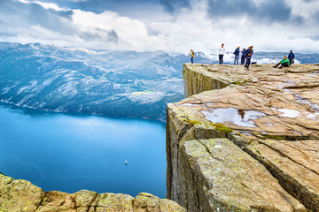 Norway, Scandinavia, Europe. Spectacular view on Lysefjord and Norwegian iconic landmark Preikestolen  pulpit rock. Traditional northern Norwegian nature landscape. Travel to Scandinavia background.