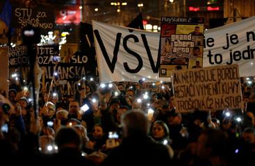 Rally in reaction to the murder of Slovak investigative reporter Jan Kuciak is held in Bratislava