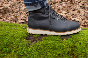 Hiking boots on a tree and green moss in the autumn