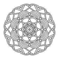Beautiful Mandala Shape for Coloring. Vector Mandala. Floral. Flower. Oriental. Book Page. Lines