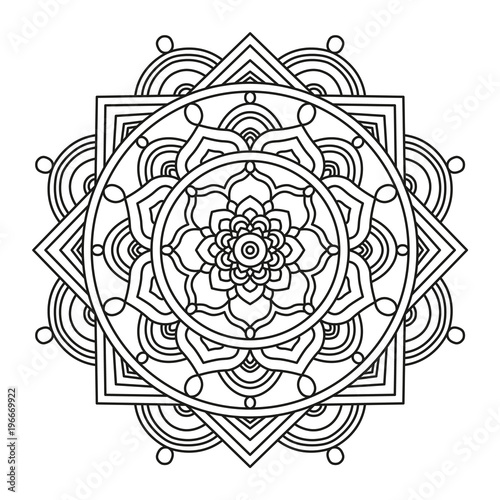 Beautiful Mandala Shape for Coloring. Vector Mandala. Floral. Flower ...