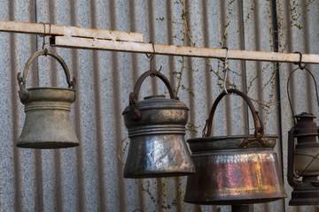 copper containers. old kitchen design. copper concept. kitchen concept.
