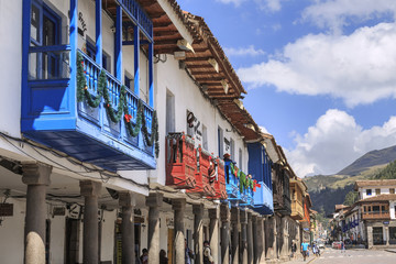 Ancient buildings in the Plaza de Armas of Cusco city which is located in Sacred Valley of the Incas.