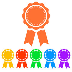 Simple, flat award ribbon icon. Six color variations. Isolated on white