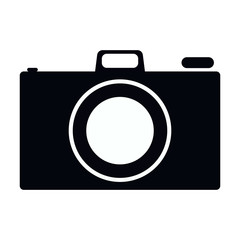 Simple, flat, black and white camera icon (silhouette). Isolated on white