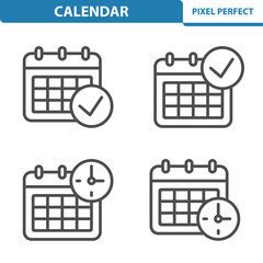 Calendar Icons. Professional, pixel perfect icons depicting various calendar concepts. EPS 8 format.