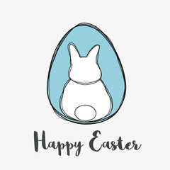 Happy Easter cute bunny back on Easter egg vector.