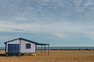 wooden house on the mediterranean beach