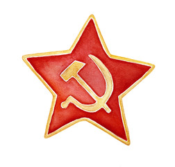 Watercolour drawing of bright five pointed red star with golden hammer and sickle and golden framing. One single object, front view. Handdrawn water color graphic on white background, cutout clip art.