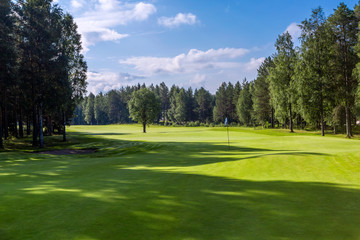 Landscape of golf field and hole flag