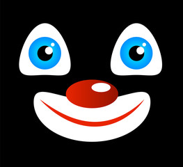 Face Expression of a Funny Joyful Smiling Clown in Black