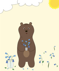 A brown bear collects blue flowers on a sunny meadow. Vector.