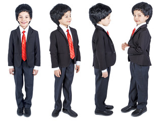 A young businessman is in a classic suit and a wig. Isolated. White background.