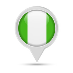 Nigeria Flag Round Pin Vector Icon