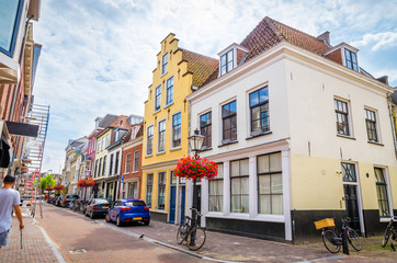 Traditional old street and buildings  in Utrecht, Netherlands.